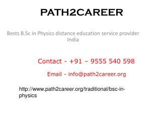 Best  B.Sc in Physics distance education service provider India @9278888356