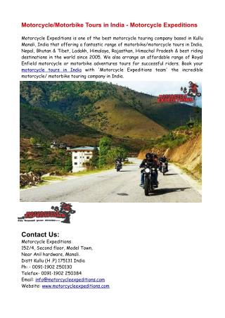 Motorbike/Motorcycle Tours in India - Motorcycle Expeditions