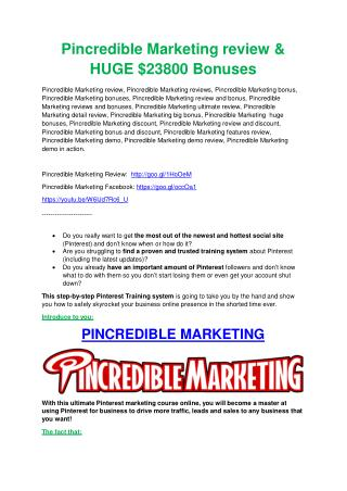 Pincredible Marketing TRUTH review and EXCLUSIVE $25000 BONUS