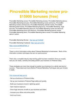 Pincredible Marketing Review - 80% Discount and $26,800 Bonus