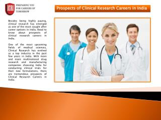 Clinical Research Careers, PhD in Clinical Research