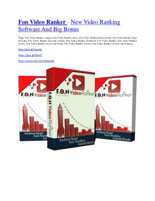 Fon Video Ranker Detail Review and Fon Video Ranker $22,700 Bonus