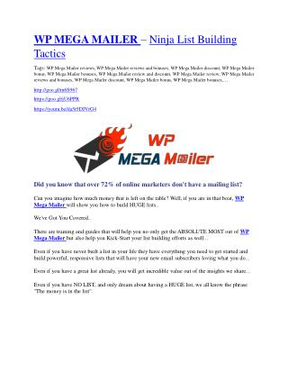 WP Mega Mailer Review - $24,700 BONUS & DISCOUNT