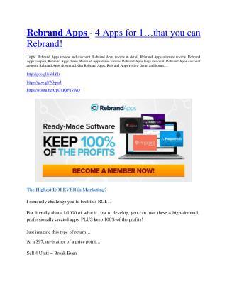 Rebrand App Review - $9700 Bonus & 80% Discount