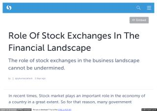 Role Of Stock Exchanges In The Financial Landscape