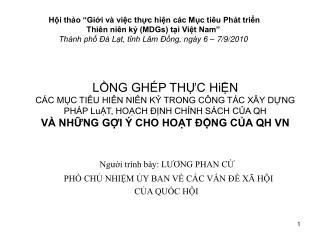 LNG GH P THC HiN  C C MC TI U HI N NI N K TRONG C NG T C X Y DNG PH P LuT, HOCH  NH CH NH S CH CA QH  V  NHNG GI   CHO H
