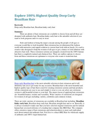 Explore 100% Highest Quality Deep Curly Brazilian Hair