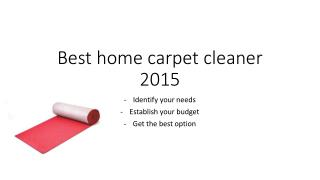 Best Home Carpet Cleaner 2015