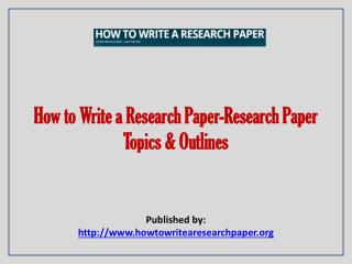 approach to writing a research paper