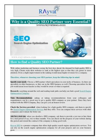 Why is a Quality SEO Partner very Essential?