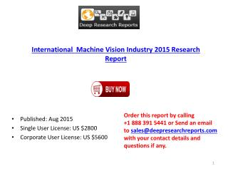 International  Machine Vision Industry 2015 Research Report