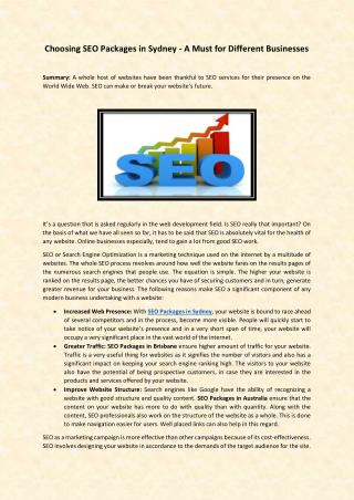 Choosing SEO Packages in Sydney - A Must for Different Businesses