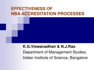 EFFECTIVENESS OF  NBA ACCREDITATION PROCESSES