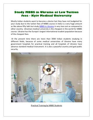 Study MBBS in Ukraine at Low Tuition fees - Kyiv Medical University