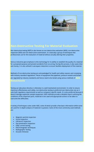 Non-Destructive Testing For Material Evaluation