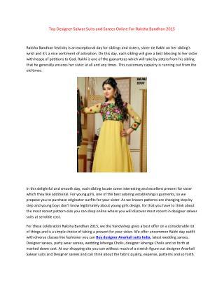 Top Designer Salwar Suits and Sarees Online For Raksha Bandhan 2015