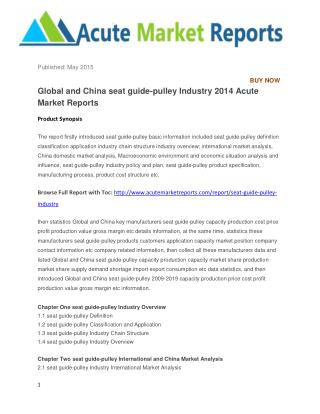 Global and China seat guide-pulley Industry 2014 Acute Market Reports