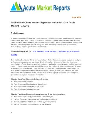 Global and China Water Dispenser Industry 2014 Acute Market Reports