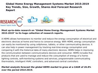 Global Home Energy Management Systems Market 2015-2019