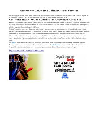 Columbia SC Water Heater Repair Services