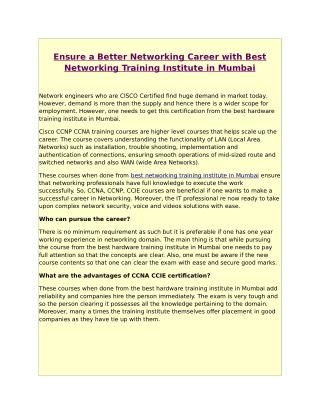 Ensure a Better Networking Career with Best Networking Training Institute in Mumbai