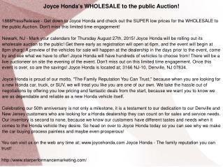 Joyce Honda's WHOLESALE to the public Auction!