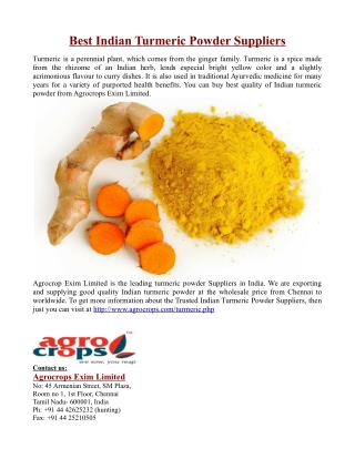Best Indian Turmeric Powder Suppliers