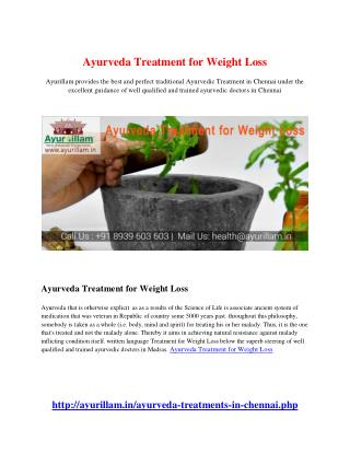Ayurveda Treatment for Weight Loss
