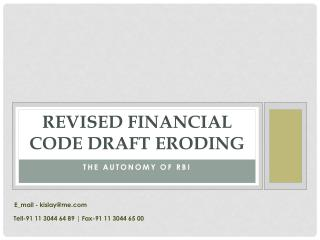 Revised Financial Code Draft Eroding The Autonomy Of RBI