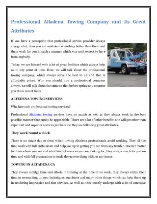 Professional Altadena Towing Company and Its Great Attributes