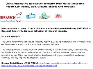 China Automotive Non-woven Industry 2015 Market Research Report