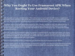 Make the Most Out of Your Android Device by means of Framaroot APK