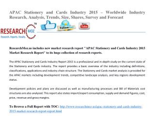 APAC Stationery and Cards Industry 2015 Market Research Report
