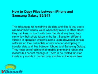 Transfer Data/Files between iPhone and Samsung Galaxy