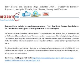 Italy Travel and Business Bags Industry 2015 Market Research Report