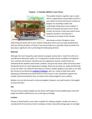 Pergolas -- A Valuable Addition in your House