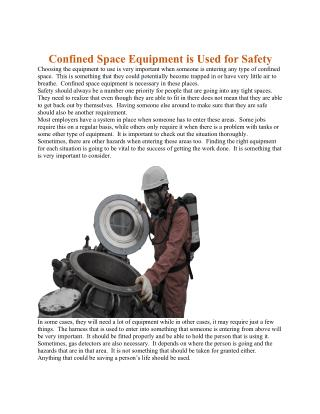 Confined Space Equipment is Used for Safety