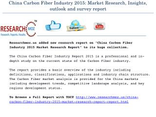 China Carbon Fiber Industry 2015: Market Research, Insights, outlook and survey report