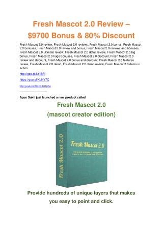Fresh Mascot Vol2 REVIEW and GIANT $21600 bonuses