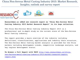 China Non-ferrous Metal Casting Industry 2015 Market Research Report