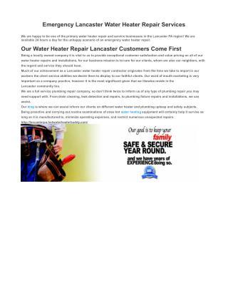 Emergency Water Heater Repair in Lancaster PA