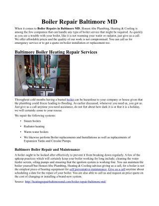 Boiler Repair Baltimore MD