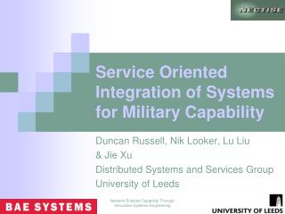 Service Oriented Integration of Systems for Military Capability