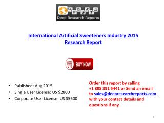 Global Artificial Sweeteners Market Research Report 2015