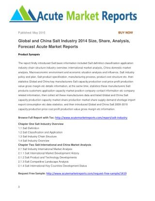 Global and China Salt Industry 2014 Size, Share, Analysis, Forecast Acute Market Reports