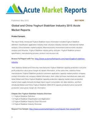 Global and China Yoghurt Stabilizer Industry 2015 Acute Market Reports