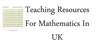 Teaching Resources For Mathematics In UK
