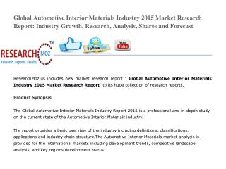Global Automotive Interior Materials Industry 2015 Market Research Report