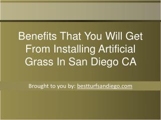 Benefits That You Will Get From Installing Artificial Grass In San Diego   CA