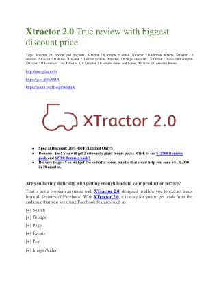 Xtractor 2.0 Review -(FREE) $32,000 Bonus & Discount